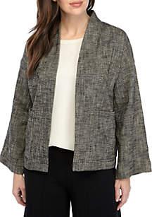 Eileen Fisher High Collar Tweed Kimono Jacket
