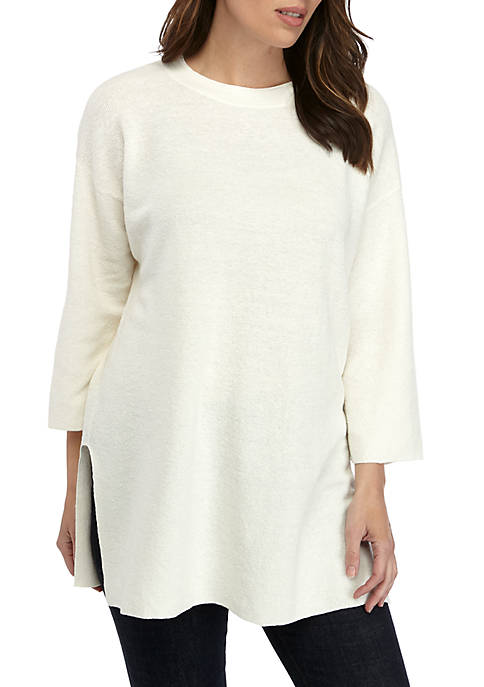 Eileen Fisher Round Neck 3/4 Sleeve Tunic Sweater
