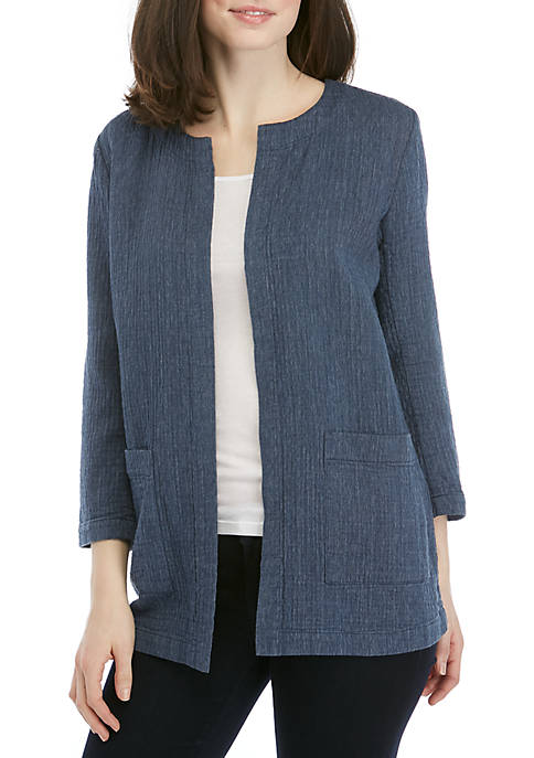Eileen Fisher Round Neck Indigo Jacket
