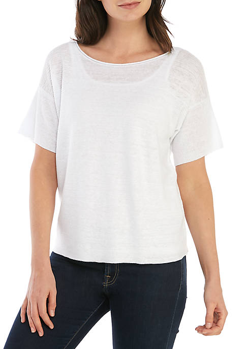 Short Sleeve Bateau Neck Box Top Sweater