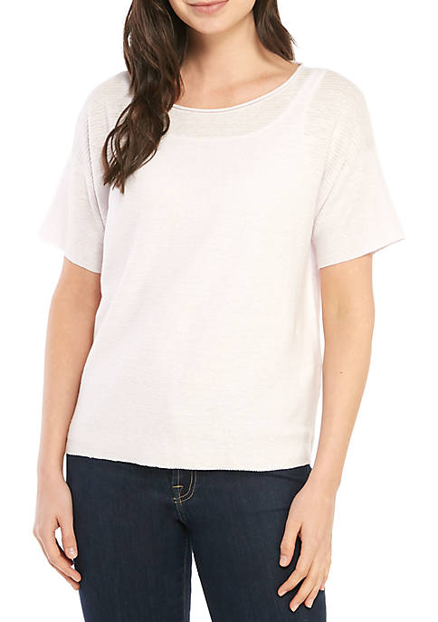 Eileen Fisher Short Sleeve Bateau Neck Box Top