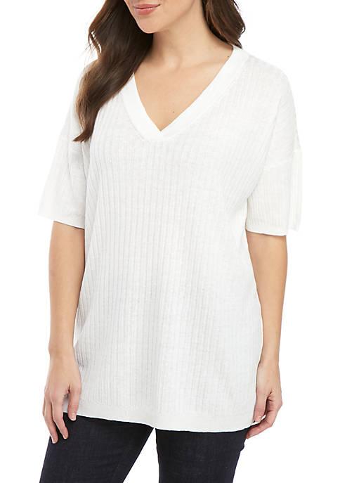 Eileen Fisher Short Sleeve V Neck Rib Tunic