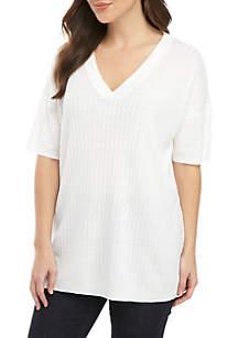0661925b0fb4 ... Eileen Fisher Short Sleeve V Neck Rib Tunic Sweater