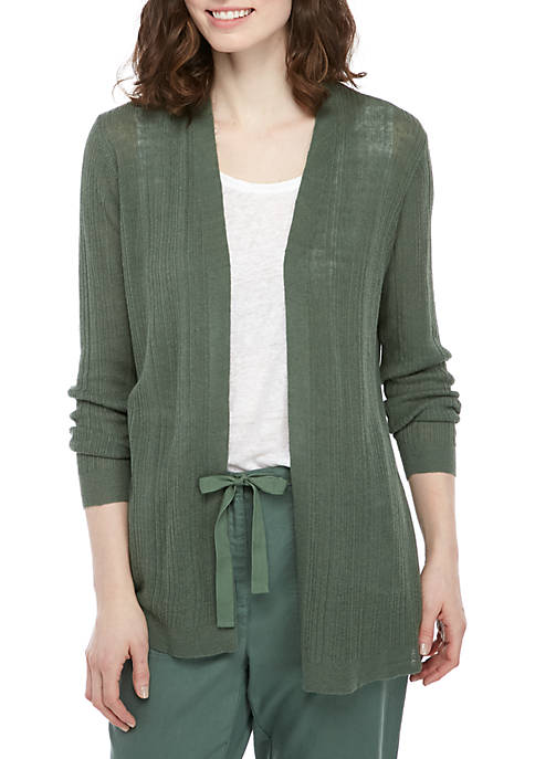 Eileen Fisher Textured Open Front Cardigan
