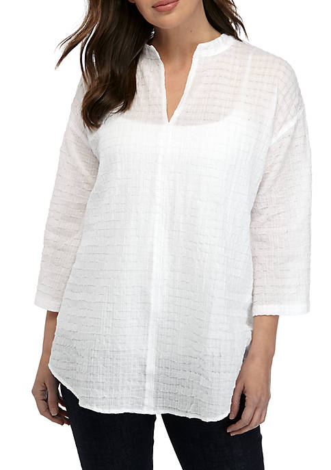 Stand Collar Box Voile Shirt