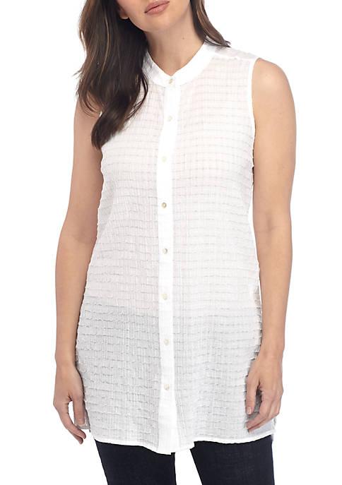 Eileen Fisher Sleeveless Box Voile Shirt