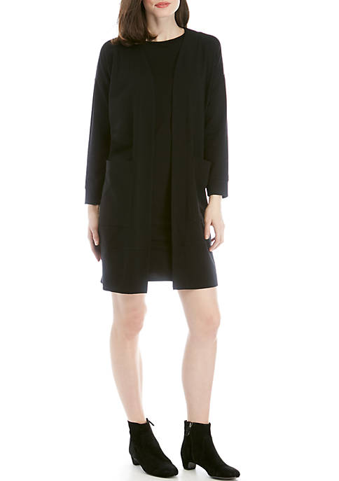 Eileen Fisher Long Front Pocket Jersey Cardigan