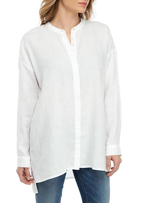 Eileen Fisher Mandarin Collar Linen Shirt