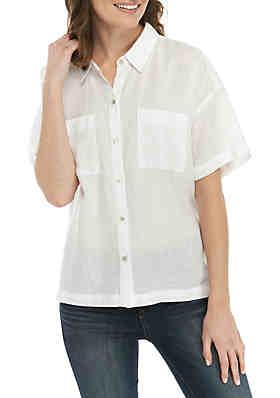 dafa4cc5f Eileen Fisher Classic Linen Short Sleeve Shirt ...