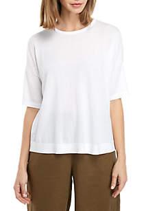 Eileen Fisher Round Neck Elbow Sleeve Sweater