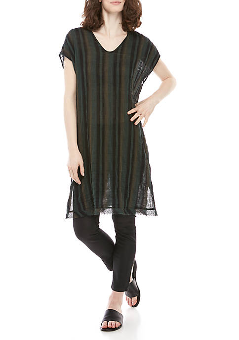 V Neck Sleeveless Striped Kaftan Dress