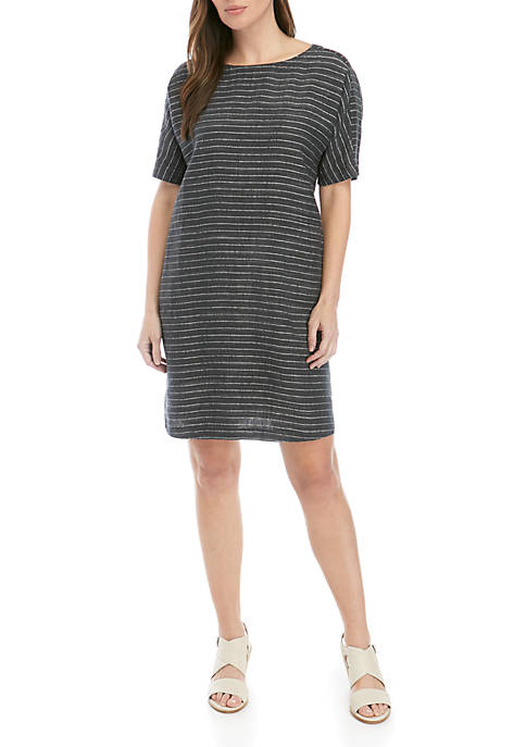 Eileen Fisher Scoop Neck Stripe Linen Dress