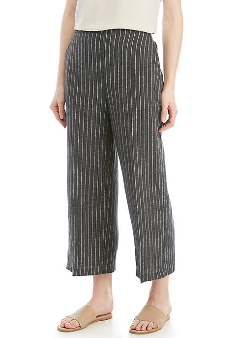 Eileen Fisher Stripe Linen Wide Leg Crop Pants