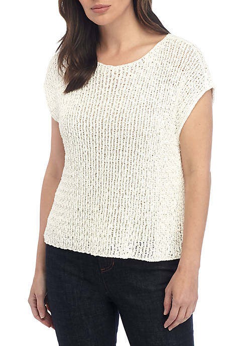 Tape Yarn Sweater with Cap Sleeves