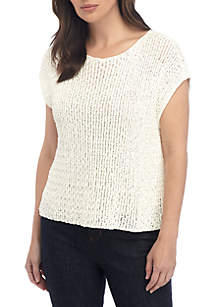 Eileen Fisher Tape Yarn Sweater with Cap Sleeves