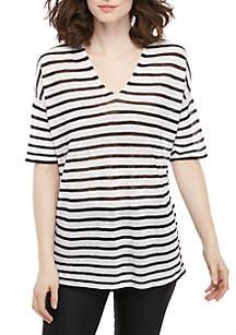 Eileen Fisher V Neck Short Sleeve Striped Sweater