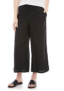 Eileen Fisher Wide Leg Linen Crop Pants