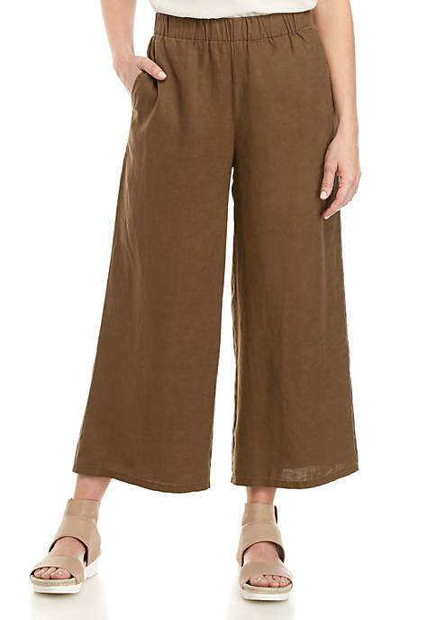 Eileen Fisher Wide Leg Linen Crop Pants