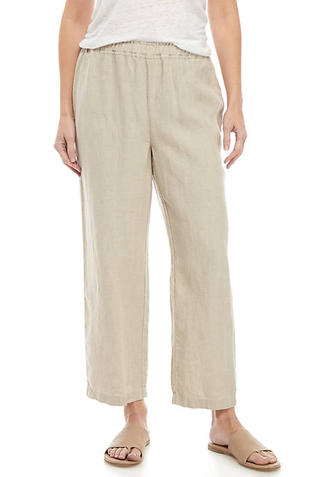 Eileen Fisher Drawstring Linen Crop Pants