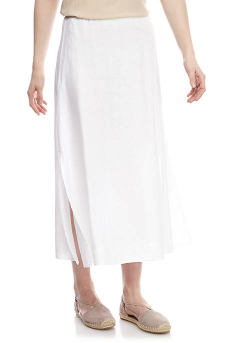 Linen Maxi Skirt with Side Slit