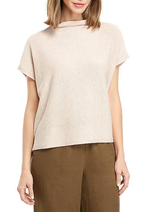 Eileen Fisher Funnel Neck Shine Sweater