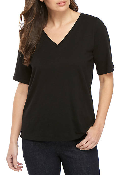 Eileen Fisher Short Sleeve V-Neck Side Slit Tee