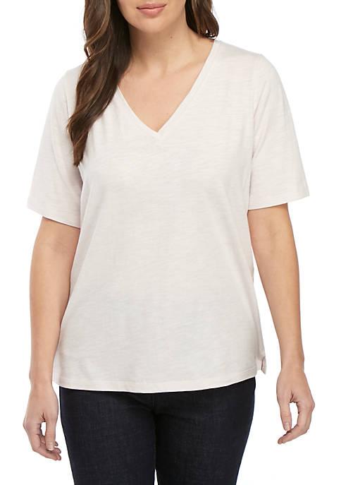 Eileen Fisher Short Sleeve V-Neck Side Slit Tee