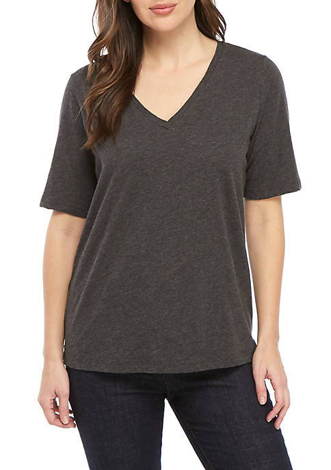 Eileen Fisher Short Sleeve Side Slit V Neck