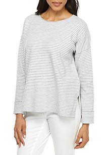 Eileen Fisher Round Neck Stripe Box Sweater