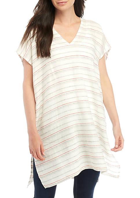 V Neck Striped Linen Caftan