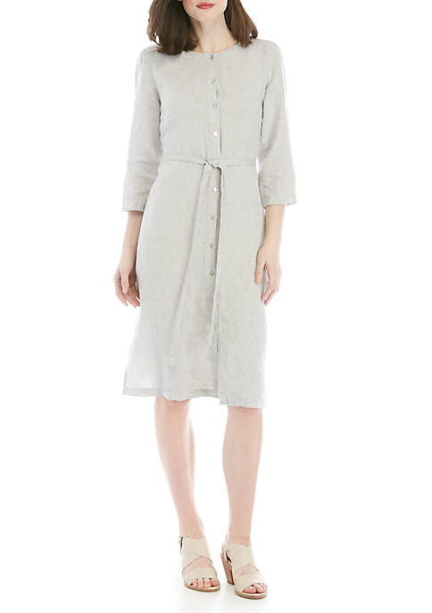 Eileen Fisher Sparkle Linen Shirt Dress
