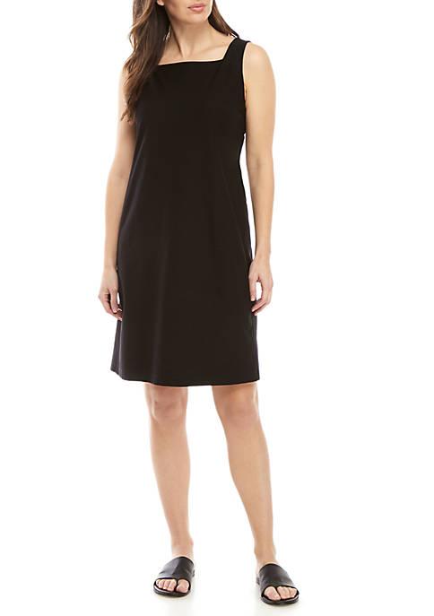 Square Neck Straight Crepe Dress