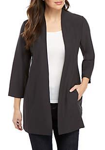 Eileen Fisher 3/4 Sleeve Long Open Front Cardigan