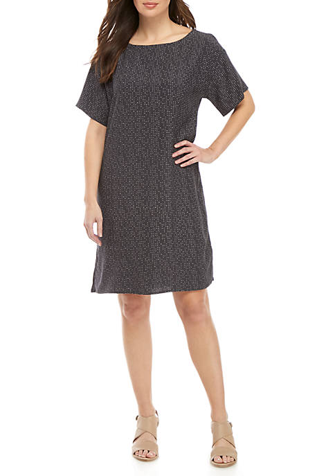 Eileen Fisher Morse Code Print Bateau Neck Dress