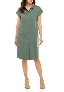 Eileen Fisher Cap Sleeve Collar Midi Dress