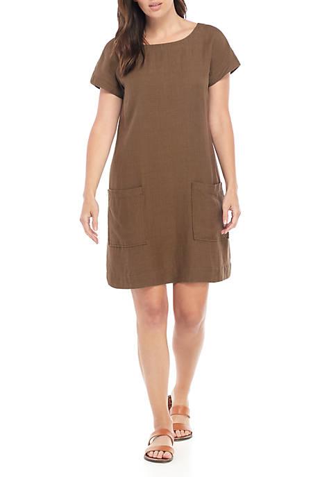 Ballet Neck Front Pocket Linen Dress