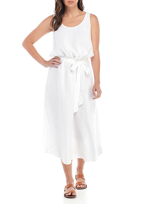Eileen Fisher U Neck Belted Linen Tank Dress