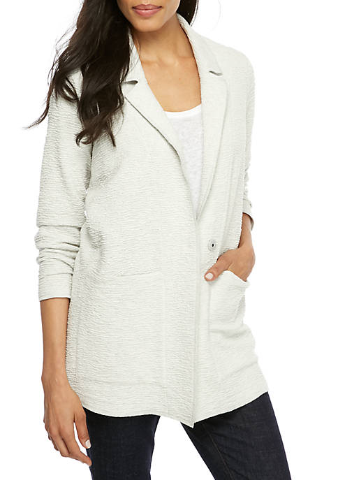 Eileen Fisher Notch Collar Textured Boxy Jacket