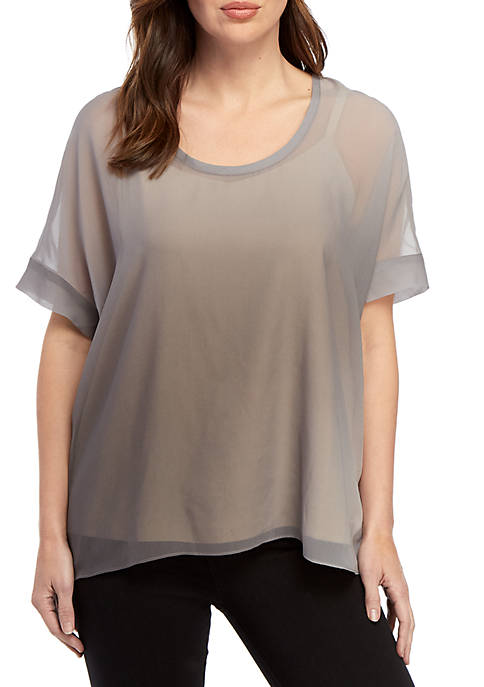 Eileen Fisher Watercolor Scoop Neck Box Blouse
