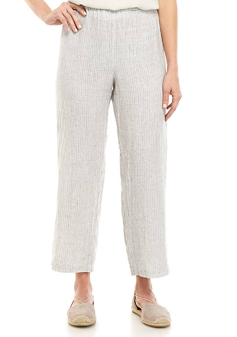 Eileen Fisher Stripe Linen Crop Pants