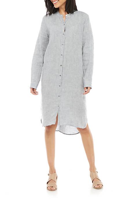 Eileen Fisher Mandarin Collar Chambray Linen Dress