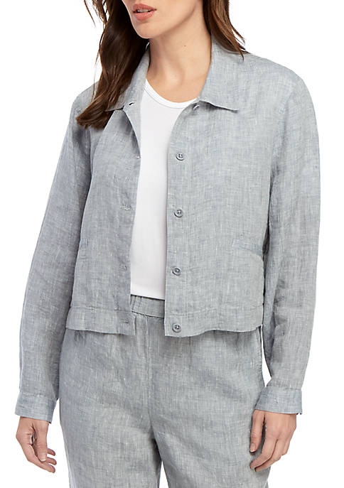 Crop Chambray Linen Jacket