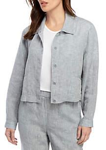 Eileen Fisher Crop Chambray Linen Jacket