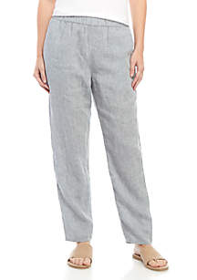 Eileen Fisher Slouchy Ankle Chambray Linen Pants