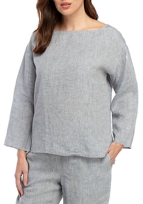 Eileen Fisher Bateau Neck Chambray Linen Box Top