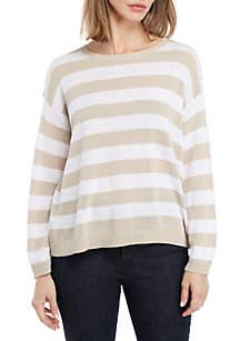 Eileen Fisher Bracelet Sleeve Stripe Box Sweater