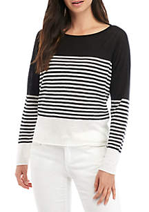 Eileen Fisher Boat Neck Stripe Sweater