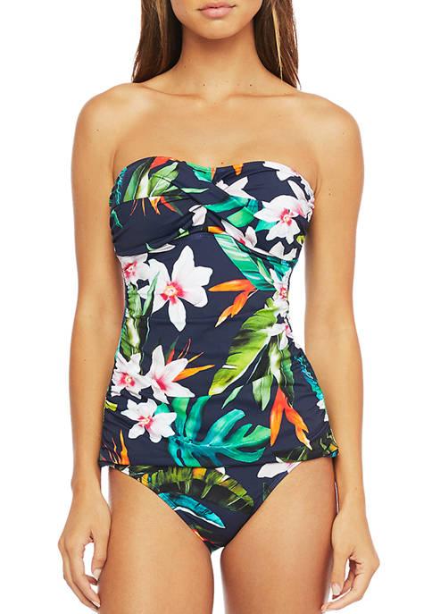 Watercolor Tropical Twist Tubini Swim Top