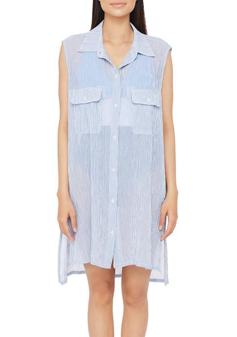 Lauren Ralph Lauren Cotton Crepe Mini Stripe Sleeveless