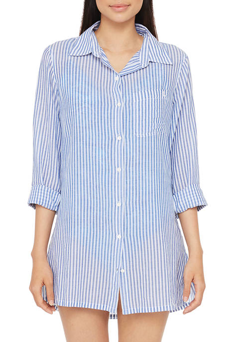 Lauren Ralph Lauren Cotton Stripe Camp Shirt Swim